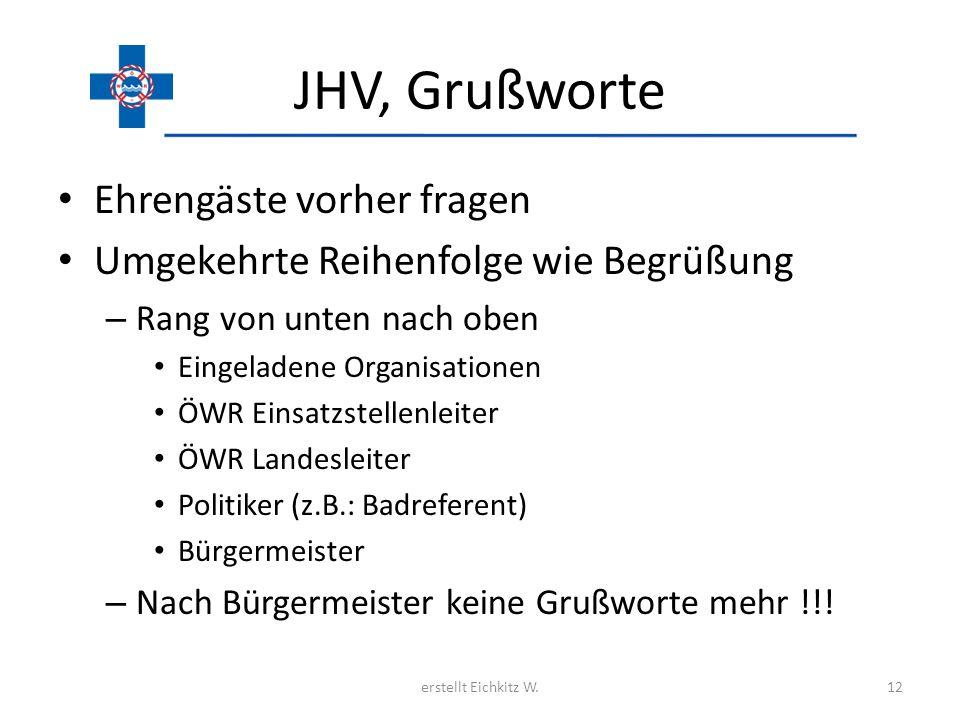 JHV, Grußworte Ehrengäste vorher fragen Umgekehrte Reihenfolge wie Begrüßung – Rang von unten nach oben Eingeladene Organisationen ÖWR Einsatzstellenl