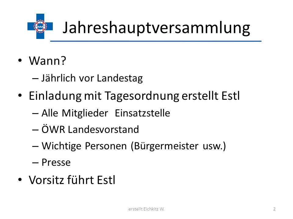 Jahreshauptversammlung Wann? – Jährlich vor Landestag Einladung mit Tagesordnung erstellt Estl – Alle Mitglieder Einsatzstelle – ÖWR Landesvorstand –
