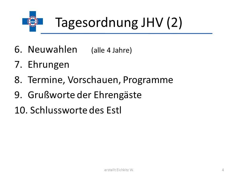Tagesordnung JHV (2) 6.Neuwahlen (alle 4 Jahre) 7.Ehrungen 8.Termine, Vorschauen, Programme 9.Grußworte der Ehrengäste 10. Schlussworte des Estl erste