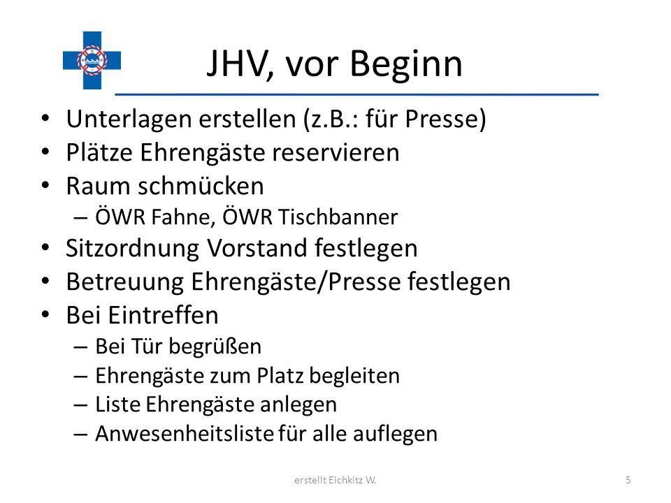 JHV, vor Beginn Unterlagen erstellen (z.B.: für Presse) Plätze Ehrengäste reservieren Raum schmücken – ÖWR Fahne, ÖWR Tischbanner Sitzordnung Vorstand