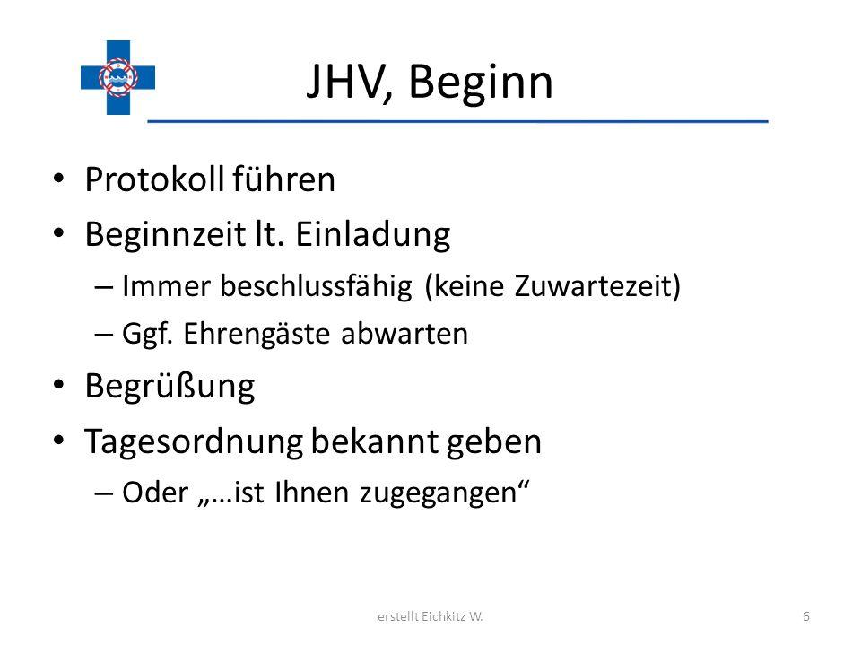 JHV, Beginn Protokoll führen Beginnzeit lt. Einladung – Immer beschlussfähig (keine Zuwartezeit) – Ggf. Ehrengäste abwarten Begrüßung Tagesordnung bek