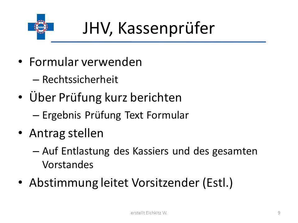 JHV, Kassenprüfer Formular verwenden – Rechtssicherheit Über Prüfung kurz berichten – Ergebnis Prüfung Text Formular Antrag stellen – Auf Entlastung d
