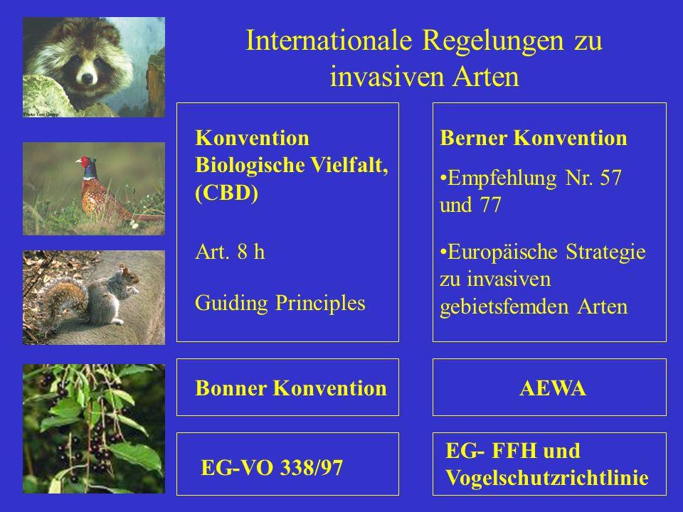 Internationale Regelungen zu invasiven Arten Berner KonventionKonvention Biologische Vielfalt, (CBD) Bonner KonventionAEWA EG- FFH und Vogelschutzrich