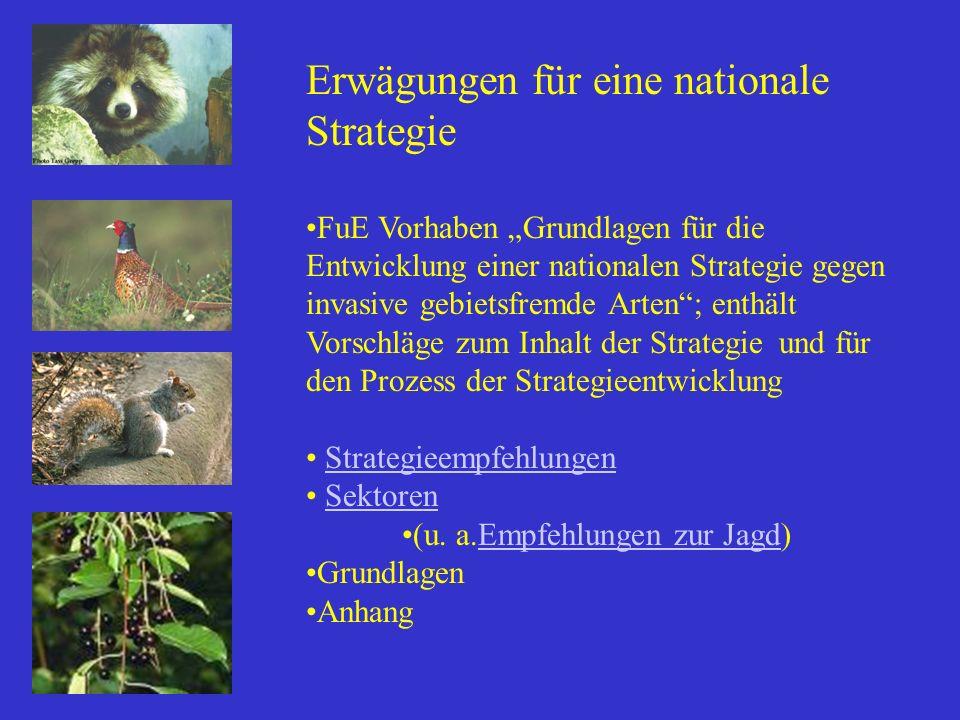 Erwägungen für eine nationale Strategie FuE Vorhaben Grundlagen für die Entwicklung einer nationalen Strategie gegen invasive gebietsfremde Arten; ent
