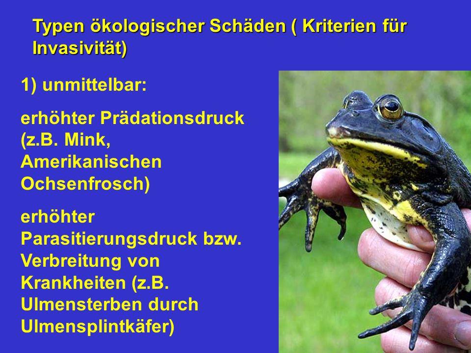1) unmittelbar: erhöhter Prädationsdruck (z.B. Mink, Amerikanischen Ochsenfrosch) erhöhter Parasitierungsdruck bzw. Verbreitung von Krankheiten (z.B.