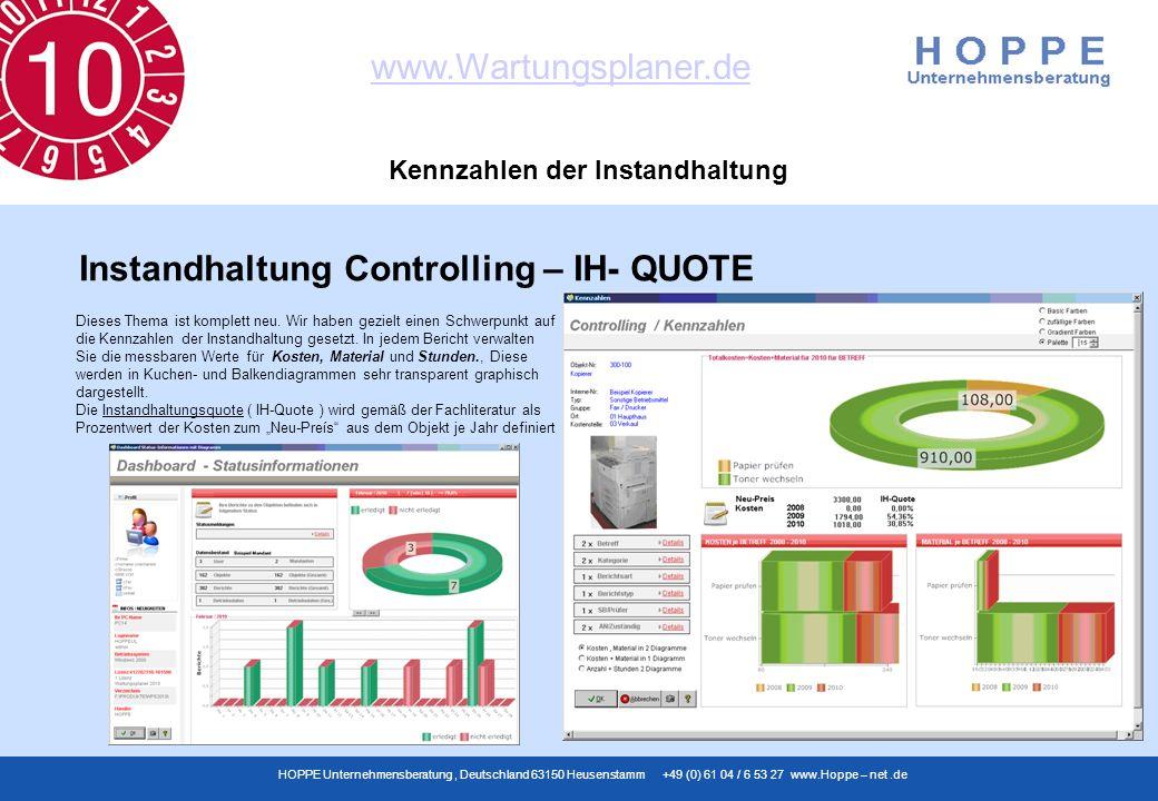 www.Wartungsplaner.de HOPPE Unternehmensberatung, Deutschland 63150 Heusenstamm +49 (0) 61 04 / 6 53 27 www.Hoppe – net.de Kennzahlen der Instandhaltu