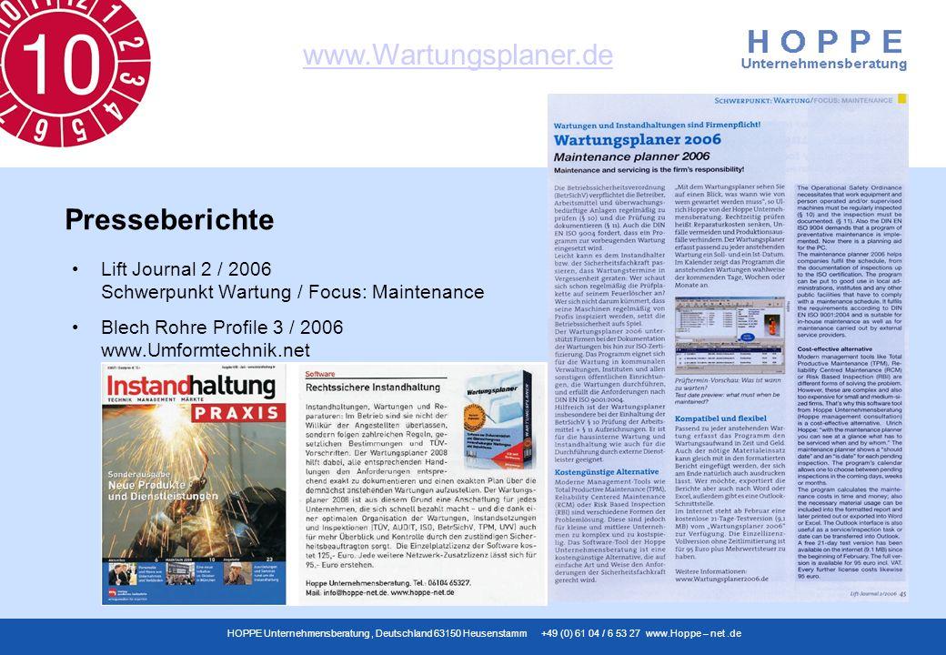 www.Wartungsplaner.de HOPPE Unternehmensberatung, Deutschland 63150 Heusenstamm +49 (0) 61 04 / 6 53 27 www.Hoppe – net.de Lift Journal 2 / 2006 Schwe