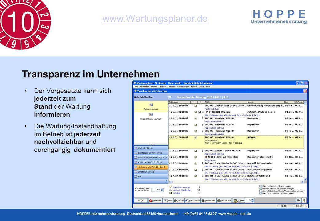 www.Wartungsplaner.de HOPPE Unternehmensberatung, Deutschland 63150 Heusenstamm +49 (0) 61 04 / 6 53 27 www.Hoppe – net.de Der Vorgesetzte kann sich j