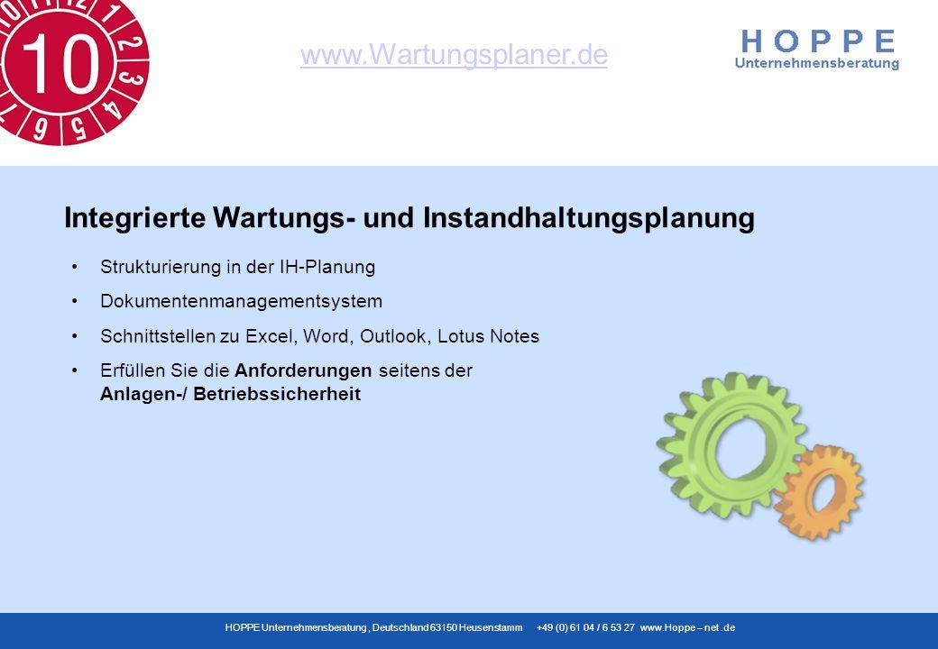 www.Wartungsplaner.de HOPPE Unternehmensberatung, Deutschland 63150 Heusenstamm +49 (0) 61 04 / 6 53 27 www.Hoppe – net.de Strukturierung in der IH-Pl