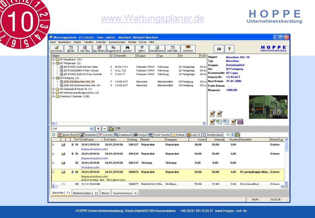 www.Wartungsplaner.de HOPPE Unternehmensberatung, Deutschland 63150 Heusenstamm +49 (0) 61 04 / 6 53 27 www.Hoppe – net.de