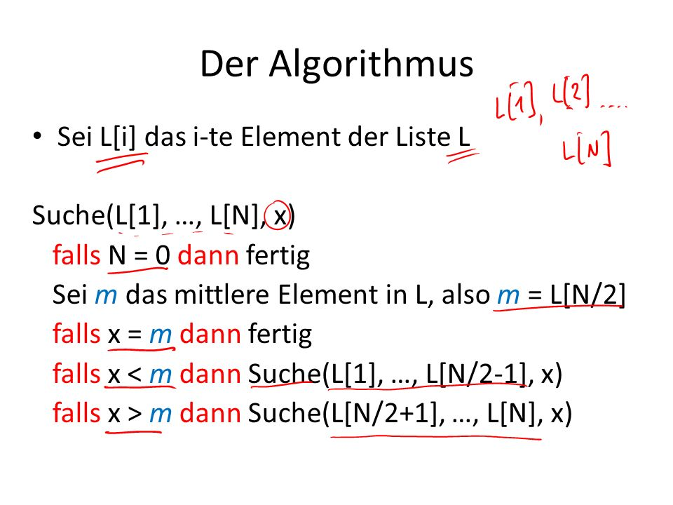 Der Algorithmus Sei L[i] das i-te Element der Liste L Suche(L[1], …, L[N], x) falls N = 0 dann fertig Sei m das mittlere Element in L, also m = L[N/2]