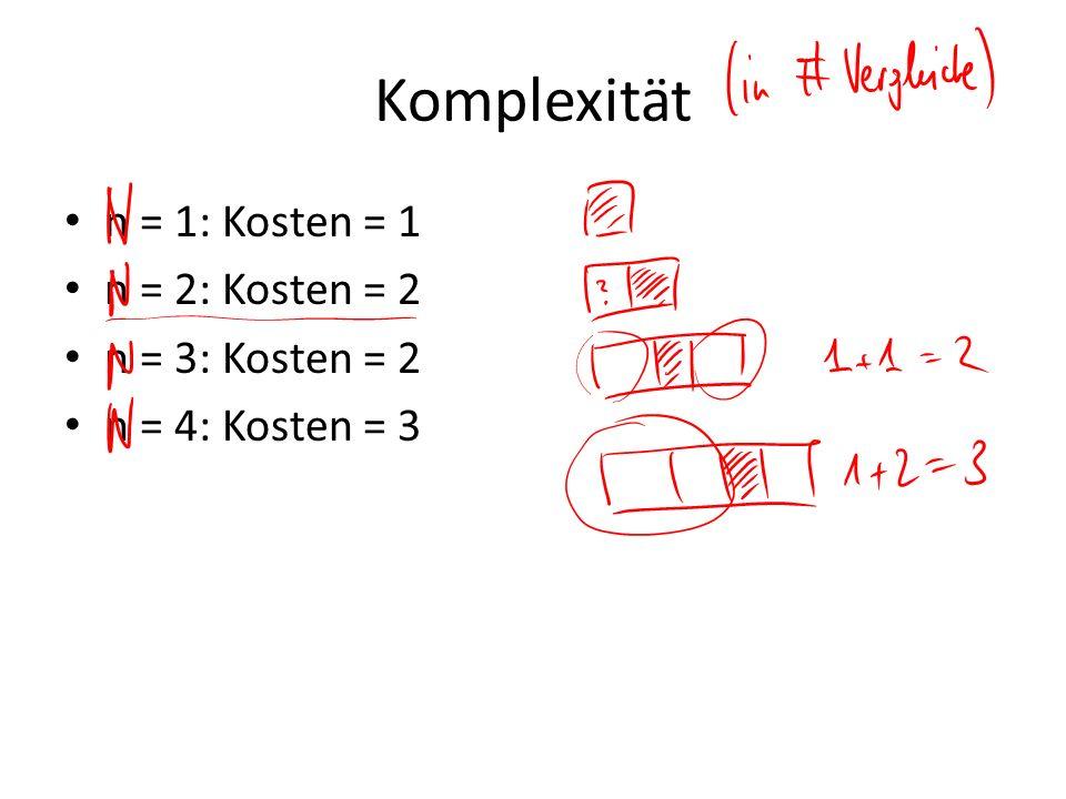 Komplexität n = 1: Kosten = 1 n = 2: Kosten = 2 n = 3: Kosten = 2 n = 4: Kosten = 3