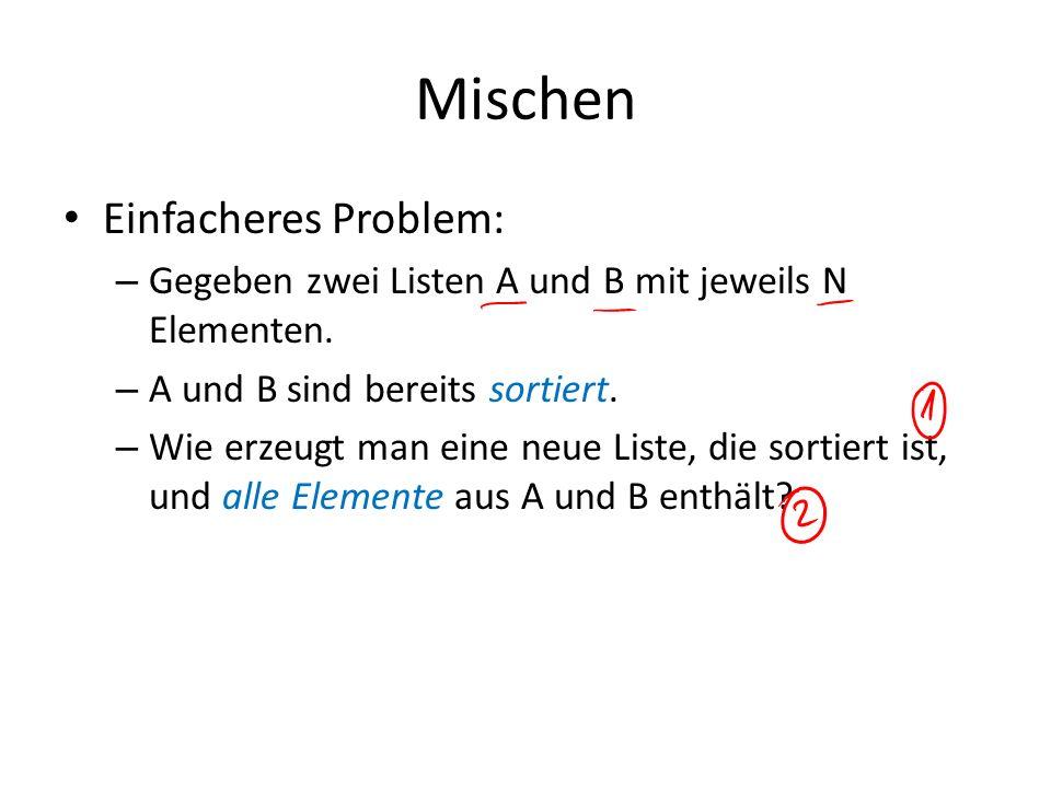Mischen Einfacheres Problem: – Gegeben zwei Listen A und B mit jeweils N Elementen. – A und B sind bereits sortiert. – Wie erzeugt man eine neue Liste