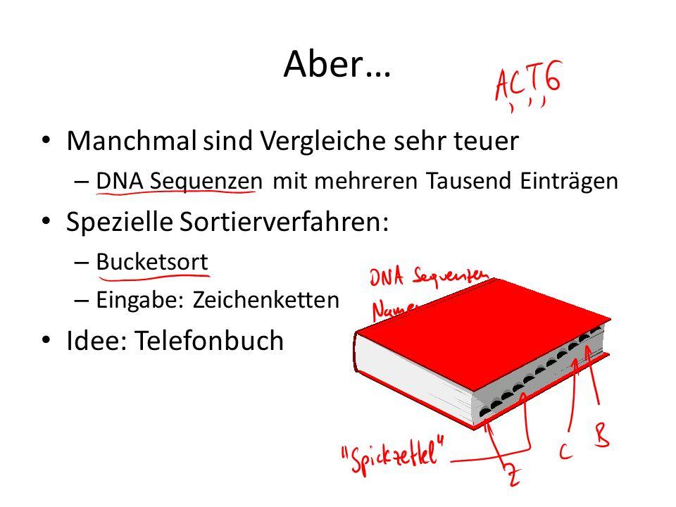 Aber… Manchmal sind Vergleiche sehr teuer – DNA Sequenzen mit mehreren Tausend Einträgen Spezielle Sortierverfahren: – Bucketsort – Eingabe: Zeichenke
