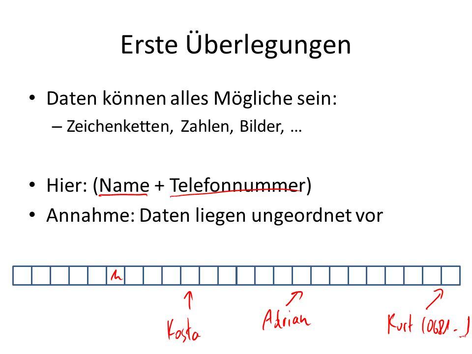 Erste Überlegungen Daten können alles Mögliche sein: – Zeichenketten, Zahlen, Bilder, … Hier: (Name + Telefonnummer) Annahme: Daten liegen ungeordnet
