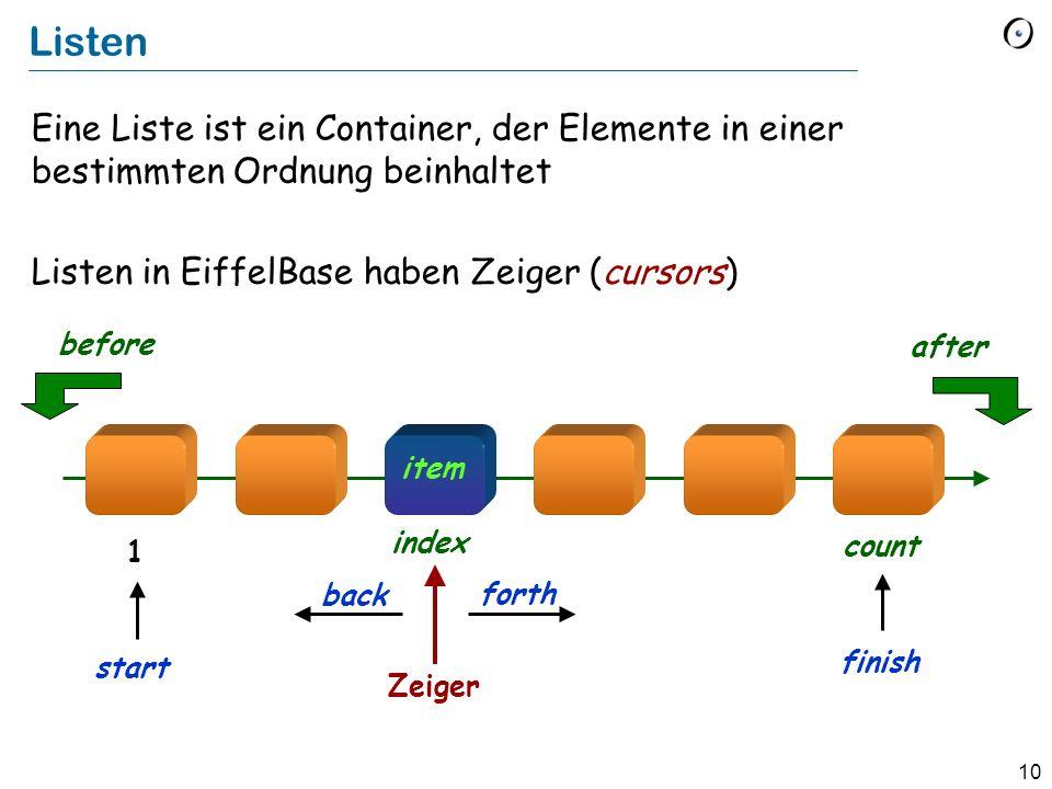 10 Listen Eine Liste ist ein Container, der Elemente in einer bestimmten Ordnung beinhaltet Listen in EiffelBase haben Zeiger (cursors) item Zeiger forth after before back index count 1 finish start