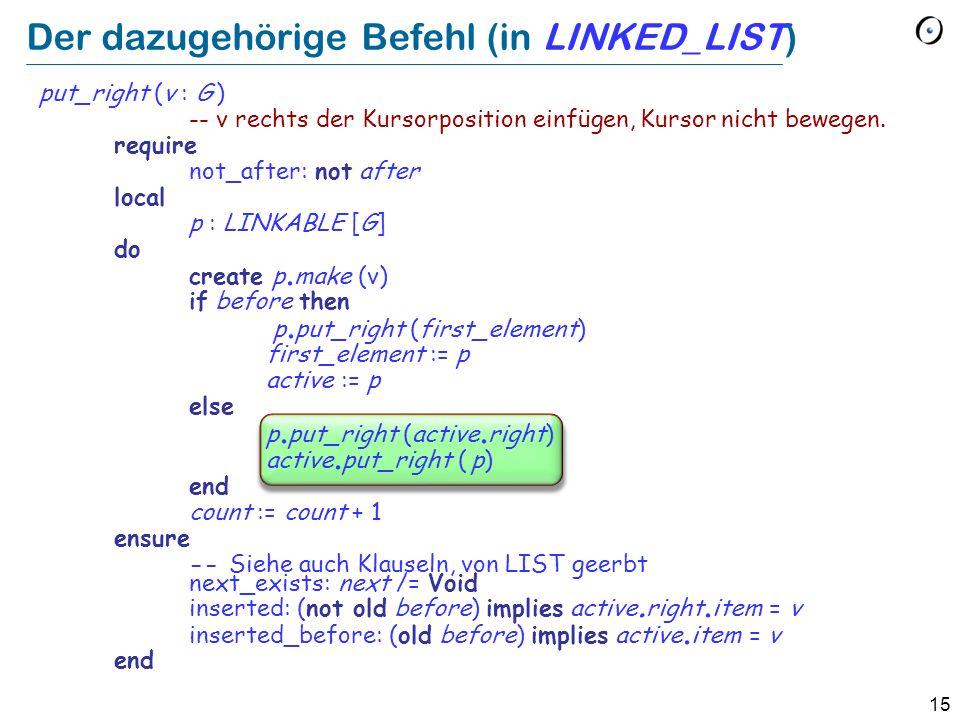 15 Der dazugehörige Befehl (in LINKED_LIST) put_right (v : G ) -- v rechts der Kursorposition einfügen, Kursor nicht bewegen.