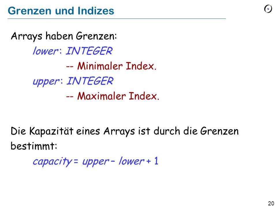 20 Grenzen und Indizes Arrays haben Grenzen: lower : INTEGER -- Minimaler Index.