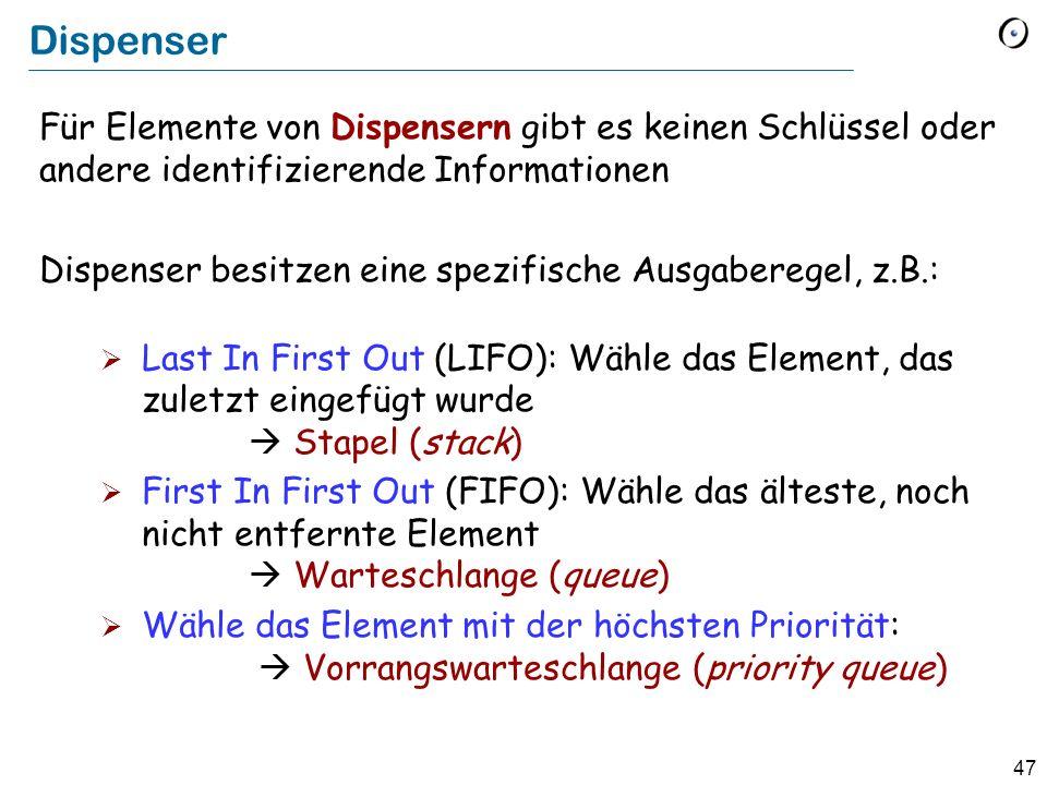 47 Dispenser Für Elemente von Dispensern gibt es keinen Schlüssel oder andere identifizierende Informationen Dispenser besitzen eine spezifische Ausgaberegel, z.B.: Last In First Out (LIFO): Wähle das Element, das zuletzt eingefügt wurde Stapel (stack) First In First Out (FIFO): Wähle das älteste, noch nicht entfernte Element Warteschlange (queue) Wähle das Element mit der höchsten Priorität: Vorrangswarteschlange (priority queue)