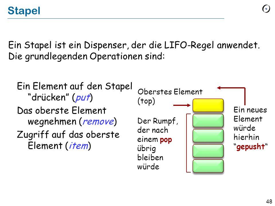 48 Stapel Ein Stapel ist ein Dispenser, der die LIFO-Regel anwendet.
