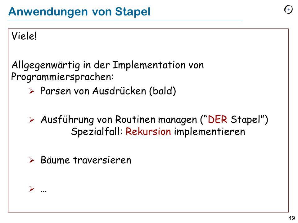 49 Anwendungen von Stapel Viele.