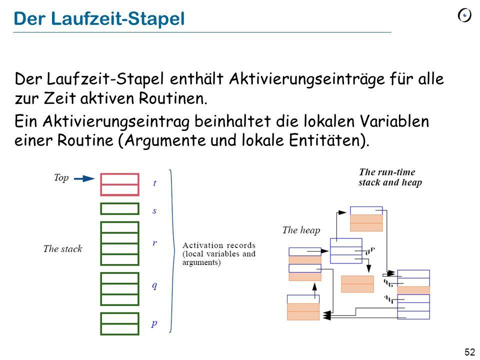 52 Der Laufzeit-Stapel Der Laufzeit-Stapel enthält Aktivierungseinträge für alle zur Zeit aktiven Routinen.