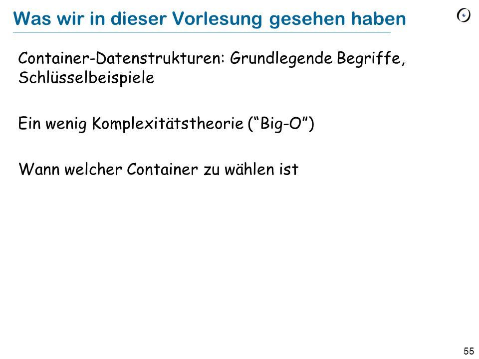 55 Was wir in dieser Vorlesung gesehen haben Container-Datenstrukturen: Grundlegende Begriffe, Schlüsselbeispiele Ein wenig Komplexitätstheorie (Big-O) Wann welcher Container zu wählen ist