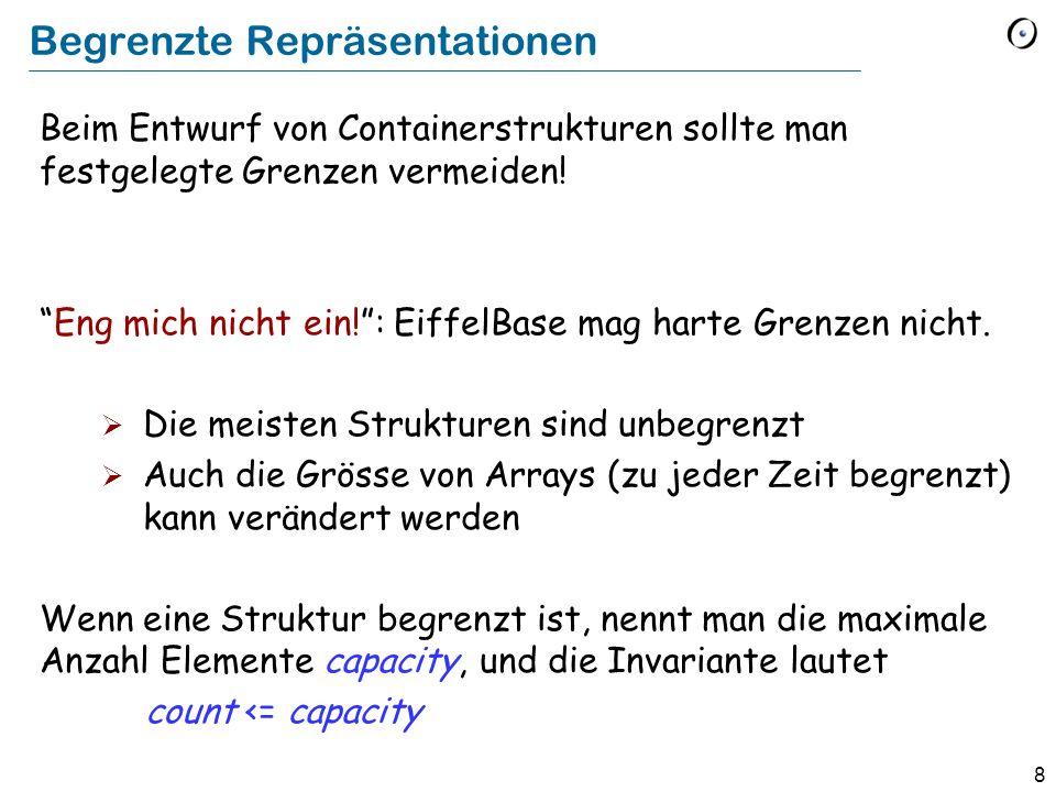 39 Eingeschränkte Generizität und die Klassenschnittstelle class HASH_TABLE [G, K -> HASHABLE ] feature item (key : K ): G put (new : G ; key : K ) -- Füge new mit key ein, sofern kein anderes -- Element mit diesem Schlüssel existiert.