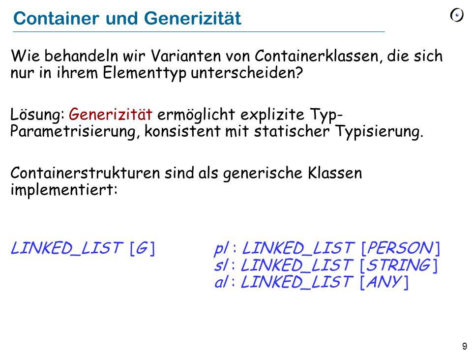 9 Container und Generizität Wie behandeln wir Varianten von Containerklassen, die sich nur in ihrem Elementtyp unterscheiden.
