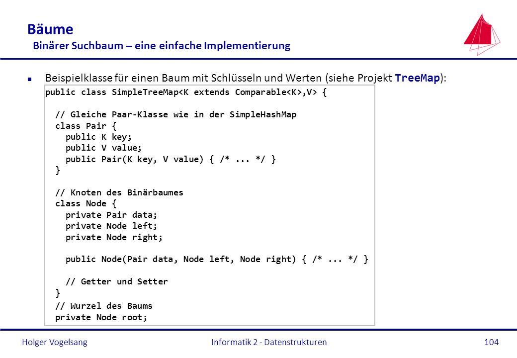 Holger Vogelsang Informatik 2 - Datenstrukturen104 Bäume Binärer Suchbaum – eine einfache Implementierung Beispielklasse für einen Baum mit Schlüsseln