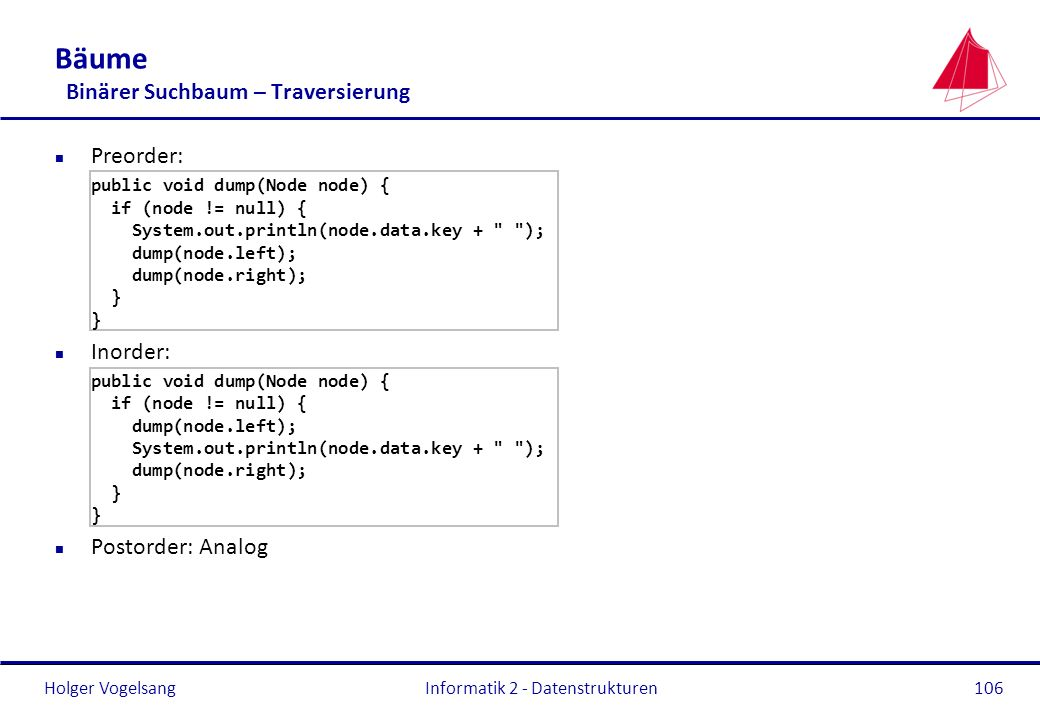 Holger Vogelsang Informatik 2 - Datenstrukturen106 Bäume Binärer Suchbaum – Traversierung n Preorder: public void dump(Node node) { if (node != null) { System.out.println(node.data.key + ); dump(node.left); dump(node.right); } n Inorder: public void dump(Node node) { if (node != null) { dump(node.left); System.out.println(node.data.key + ); dump(node.right); } n Postorder: Analog