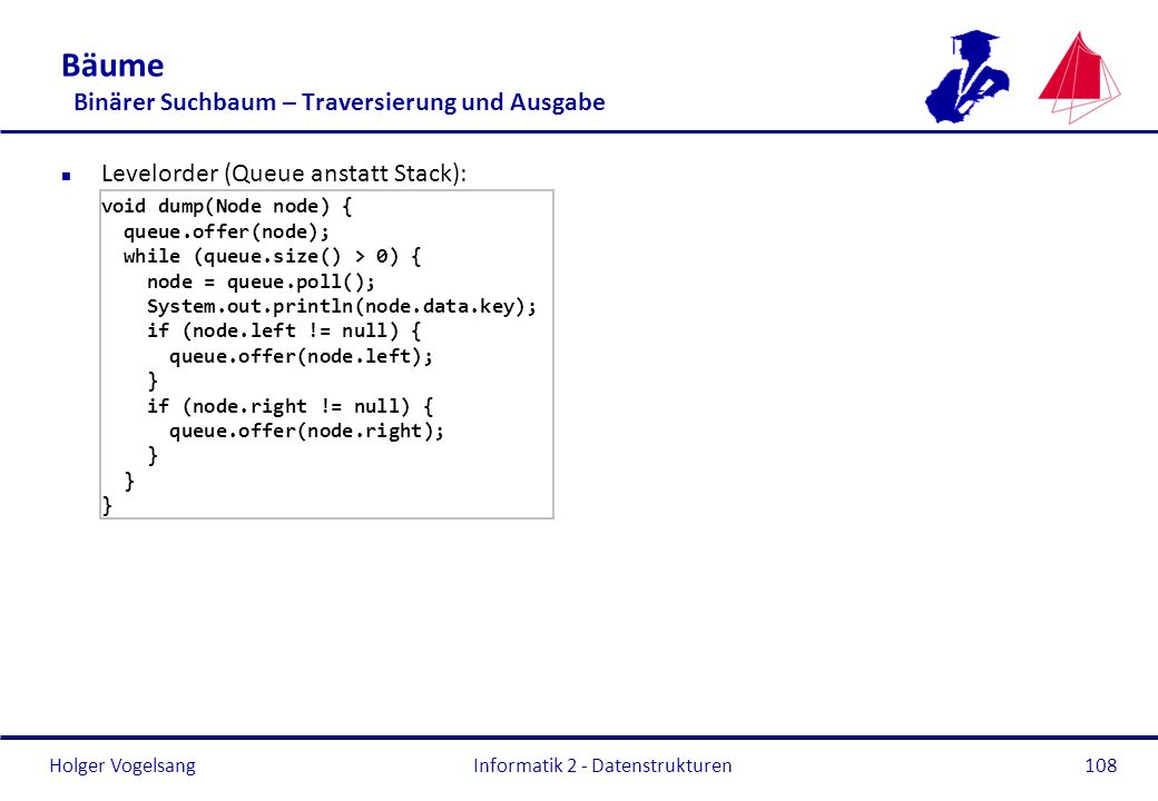 Holger Vogelsang Informatik 2 - Datenstrukturen108 Bäume Binärer Suchbaum – Traversierung und Ausgabe n Levelorder (Queue anstatt Stack): void dump(Node node) { queue.offer(node); while (queue.size() > 0) { node = queue.poll(); System.out.println(node.data.key); if (node.left != null) { queue.offer(node.left); } if (node.right != null) { queue.offer(node.right); }
