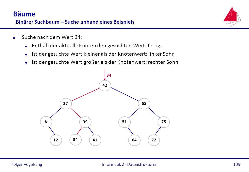 Holger Vogelsang Informatik 2 - Datenstrukturen109 Bäume Binärer Suchbaum – Suche anhand eines Beispiels n Suche nach dem Wert 34: u Enthält der aktue
