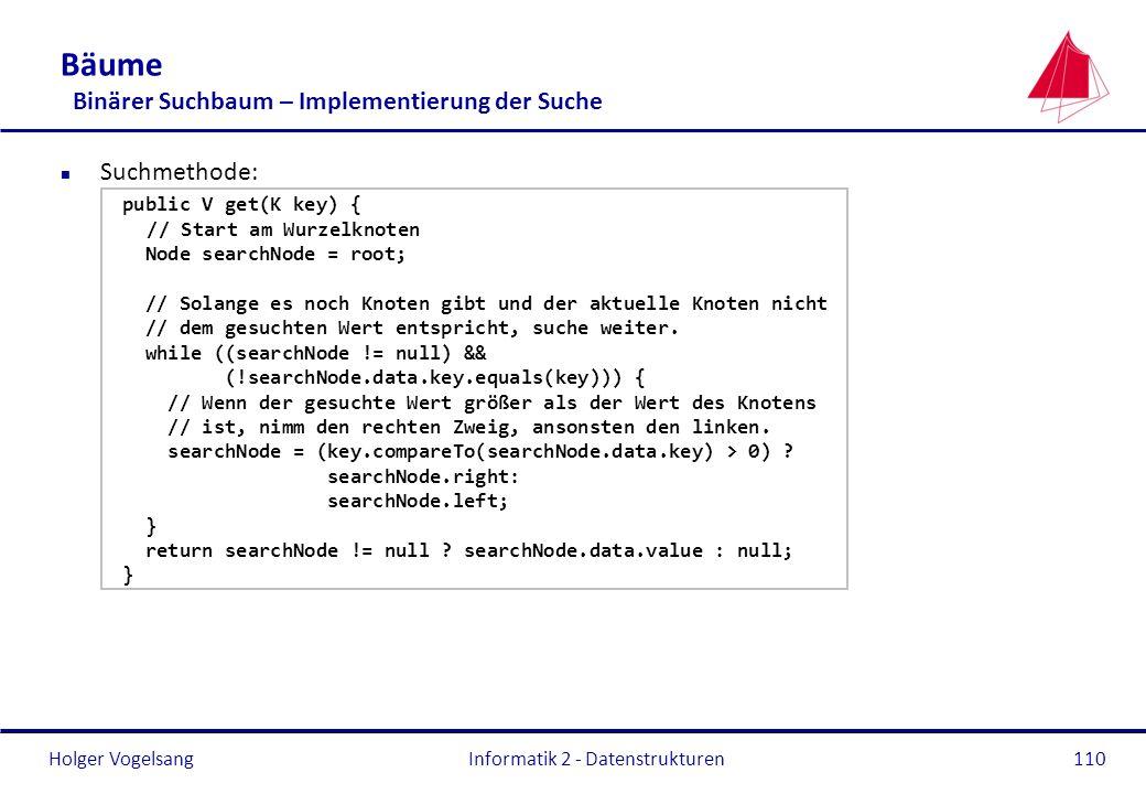 Holger Vogelsang Informatik 2 - Datenstrukturen110 Bäume Binärer Suchbaum – Implementierung der Suche n Suchmethode: public V get(K key) { // Start am