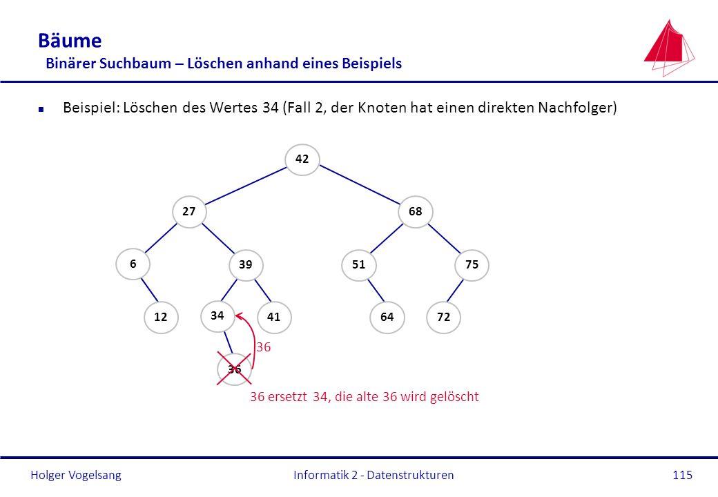 Holger Vogelsang Informatik 2 - Datenstrukturen115 Bäume Binärer Suchbaum – Löschen anhand eines Beispiels n Beispiel: Löschen des Wertes 34 (Fall 2,