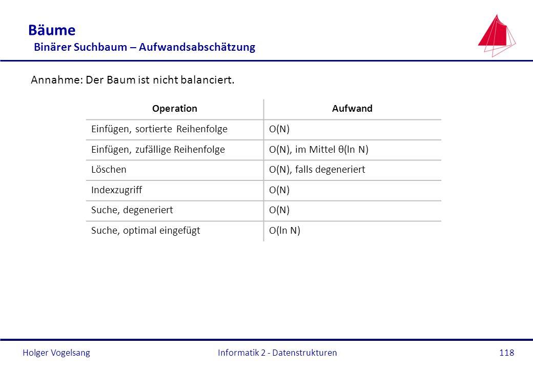 Holger Vogelsang Informatik 2 - Datenstrukturen118 Bäume Binärer Suchbaum – Aufwandsabschätzung Annahme: Der Baum ist nicht balanciert. OperationAufwa
