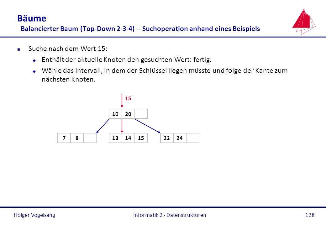 Holger Vogelsang Informatik 2 - Datenstrukturen128 Bäume Balancierter Baum (Top-Down 2-3-4) – Suchoperation anhand eines Beispiels n Suche nach dem We