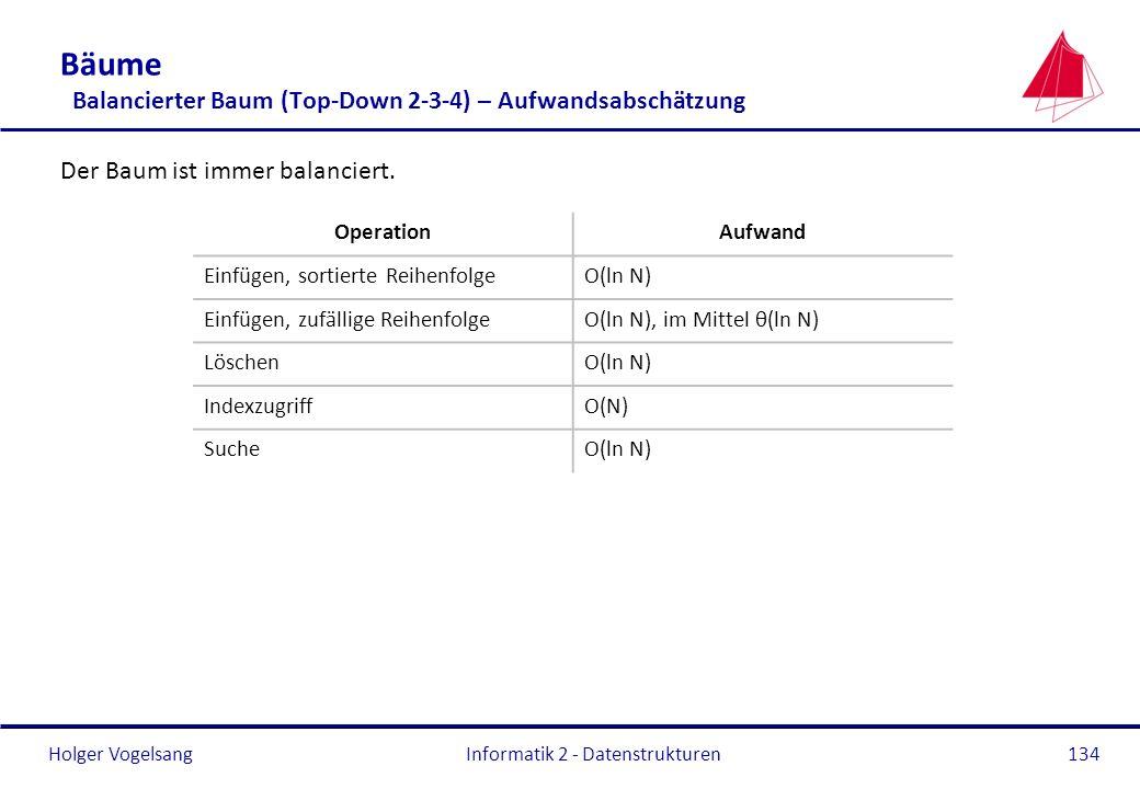 Holger Vogelsang Informatik 2 - Datenstrukturen134 Bäume Balancierter Baum (Top-Down 2-3-4) – Aufwandsabschätzung Der Baum ist immer balanciert. Opera