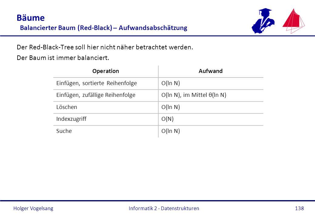 Holger Vogelsang Informatik 2 - Datenstrukturen138 Bäume Balancierter Baum (Red-Black) – Aufwandsabschätzung Der Red-Black-Tree soll hier nicht näher