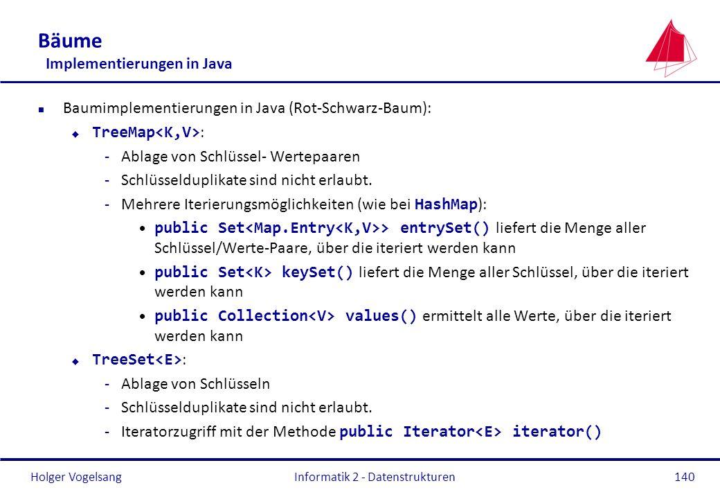 Holger Vogelsang Bäume Implementierungen in Java n Baumimplementierungen in Java (Rot-Schwarz-Baum): TreeMap : -Ablage von Schlüssel- Wertepaaren -Sch