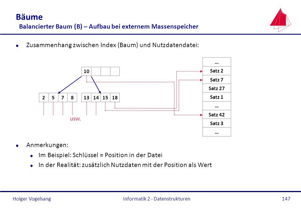 Holger Vogelsang Informatik 2 - Datenstrukturen147 Bäume Balancierter Baum (B) – Aufbau bei externem Massenspeicher n Zusammenhang zwischen Index (Bau