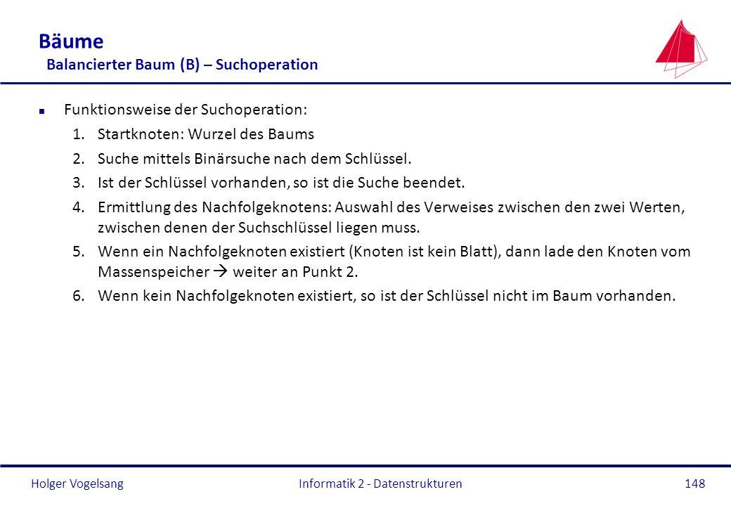 Holger Vogelsang Informatik 2 - Datenstrukturen148 Bäume Balancierter Baum (B) – Suchoperation n Funktionsweise der Suchoperation: 1.Startknoten: Wurz