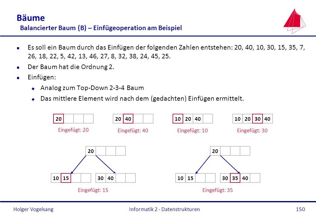 Holger Vogelsang Informatik 2 - Datenstrukturen150 Bäume Balancierter Baum (B) – Einfügeoperation am Beispiel n Es soll ein Baum durch das Einfügen de