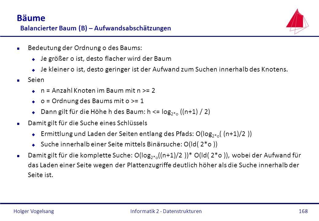 Holger Vogelsang Informatik 2 - Datenstrukturen168 Bäume Balancierter Baum (B) – Aufwandsabschätzungen n Bedeutung der Ordnung o des Baums: u Je größe