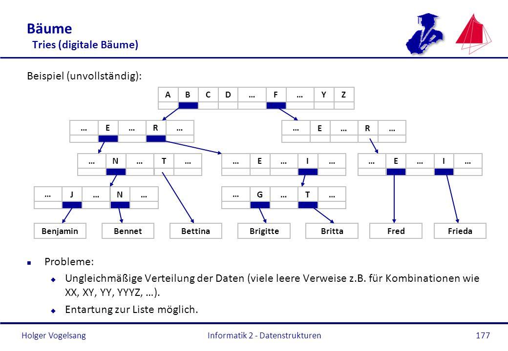 Holger Vogelsang Informatik 2 - Datenstrukturen177 Bäume Tries (digitale Bäume) Beispiel (unvollständig): n Probleme: u Ungleichmäßige Verteilung der