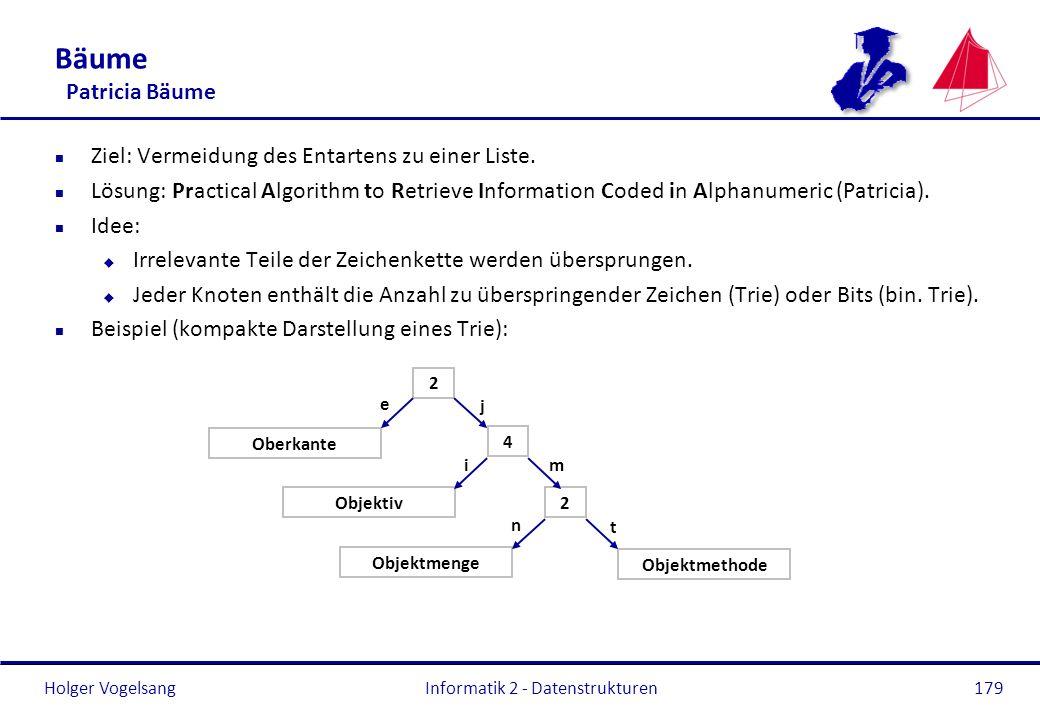 Holger Vogelsang Informatik 2 - Datenstrukturen179 Bäume Patricia Bäume n Ziel: Vermeidung des Entartens zu einer Liste. n Lösung: Practical Algorithm