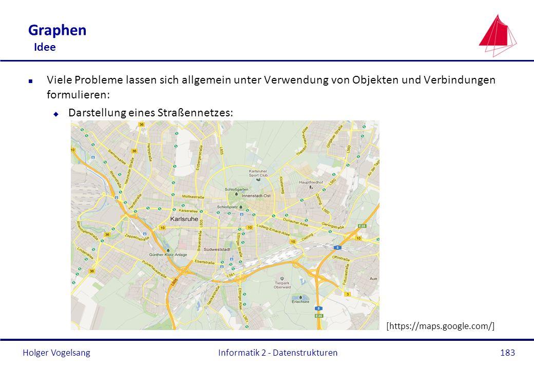 Holger Vogelsang Informatik 2 - Datenstrukturen183 Graphen Idee n Viele Probleme lassen sich allgemein unter Verwendung von Objekten und Verbindungen