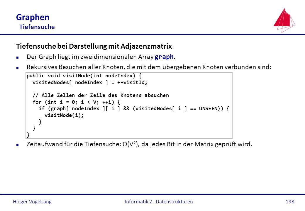 Holger Vogelsang Informatik 2 - Datenstrukturen198 Graphen Tiefensuche Tiefensuche bei Darstellung mit Adjazenzmatrix Der Graph liegt im zweidimension
