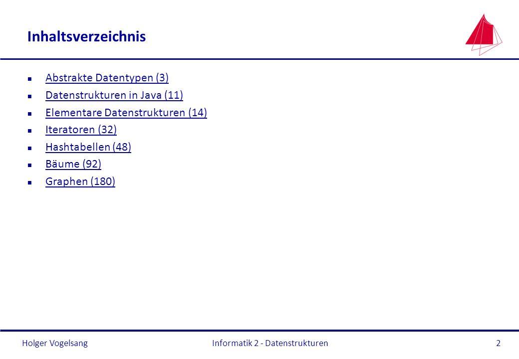 Holger Vogelsang Informatik 2 - Datenstrukturen23 Elementare Datenstrukturen Liste – Aufwandsabschätzung OperationAufwand Einfügen (an Index x)O(N) sequentielles Durchlaufen Einfügen (Anfang, Ende)O(1) Löschen (an Index x)O(N) sequentielles Durchlaufen Löschen (Anfang, Ende)O(1) IndexzugriffO(N) sequentielles Durchlaufen Suche, sortierte DatenO(N) sequentielles Durchlaufen Suche, unsortierte DatenO(N) sequentielles Durchlaufen