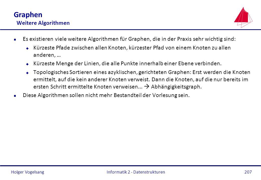 Holger Vogelsang Informatik 2 - Datenstrukturen207 Graphen Weitere Algorithmen n Es existieren viele weitere Algorithmen für Graphen, die in der Praxi